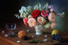 Still life with roses and fruits (Tatyana Skorokhod) Tags: stilllife roses fruits flowers grapes plums
