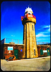 Dunmore East Lighthouse (Julie (thanks for 9 million views)) Tags: 100xthe2019edition 100x2019 image100100 wall lighthouse hww dunmoreeast iphone6s hipstamaticapp fence railings harbour waterford ireland irish maritime