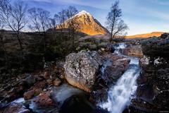 Etive Mòr waterfall (Dan_Fr) Tags: bauchailleetivemòr glencoe highlands scotland uk waterfall mountain peak morning ice frost tree water river rock sky landscape nature travel golden sony a7r wideangle