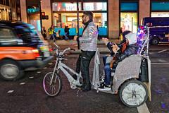 Mobile Disco (Croydon Clicker) Tags: london westend night lights christmas street road traffic people rickshaw disco glitter tourists passengers nikon sigma