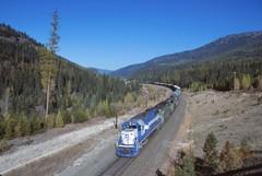 OWY/BN Rock Creek, MT (larryzeutschel) Tags: oakway bn burlington northern railroad flat head pass montana