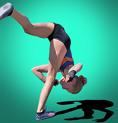 Flipping Out (Scott 97006) Tags: athletic gymnast girl kid young flip performance cute shadow