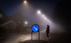 Uppsala, November 20, 2019 (Ulf Bodin) Tags: autumn sverige mist sweden outdoor dimma road uppsala björkgatan walking woman höst canonrf85mmf12lusm fog sign canoneosr streetphotography urbanlife uppsalalän