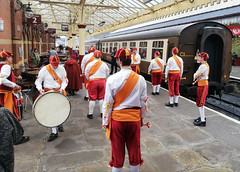 Happy Lancashire Day! (Gerry Hat Trick) Tags: lancashire elr lancs eastlancsrailway lancashireday dancers morris 27thseptember horwichprizemedalmorrismen horwich champion champions clogs bells carriage drum dancing dance station canopy