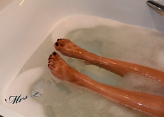 Tan-Lined feet in the tub (Mr2D2) Tags: toes bath sexyfeet sexytoes wife latina pedi pedicure anklet aboutl