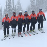 2019/20 BC Ski Team (l to r) Marcus Athans, Gerrit van Soest, Heiko Ihns, Nathan Romanin, Ella Renzoni, Frances MacDonald; (missing) Myles Kowalczyk, Tait Jordan, Asher Jordan