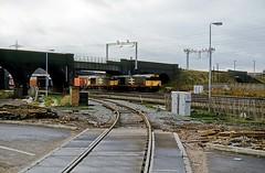 Washwood Heath, Birmingham, December 1986 (David Rostance) Tags: 58027 58036 class58 freightliner washwoodheath birmingham bone 4o90
