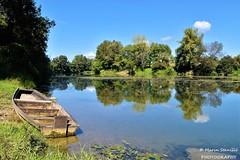 Levkušje, Croatia - Reflection on river Kupa (Marin Stanišić Photography) Tags: levkušje karlovac croatia karlovaccounty reflection boat river kupa nikon d5500