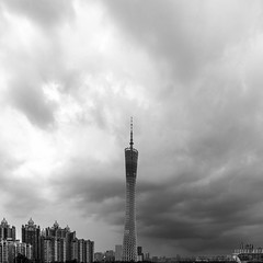 IMG_8713 (kevinho86) Tags: landmark tower canton canon cityscapes city monochrome bw 雲 空 guangzhou pearlrivernewtown 建築 landscape scenery scape downtown citylife art simple urban 珠江新城 天際線 architecture ef1635f4lusm eos450d wideangle blackwhite architectural cloudy 11 squareformat square