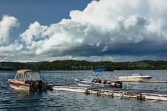 Late afternoon at Cottonwood Bay, Bridge Lake (Image 6) (Martin Thielmann) Tags: bc bridgelake cottonwoodbay southcaribooregion dockedmotorboats mixedforestuplands smallmarina stormclouds