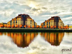 Peace___and___goodwill👌🍁 (gnewmd) Tags: architecturaldesign triangles image peaceful earthlyarchitecture citybeats throughmylens silhouette haveaniceday contemplating clouds orangetrees dwelling autumn glasgow river mirrorimage shadow buildings riverbank water
