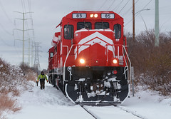 MNNR 85- Work in Fridley (Khang Lu) Tags: mnnr minnesota commercial railroad ge b398e 85 lmx belt job fridley mn end line fresh new paint train locomotive
