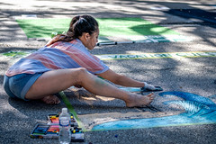 2019 Via Colori Festival (burnt dirt) Tags: houston texas candid documentary street photography downtown city urban metro outdoor people person fujifilm xt3 fujinon 50mm f2 style fashion life real crowd group emotion expression portrait close art artist chalk pastel paint line sidewalk blue barefoot