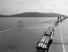 Bosphorus...in Explore #361 (ashokboghani) Tags: bosphorus turkey shore promenade blackandwhite monochrome vanishingpoint