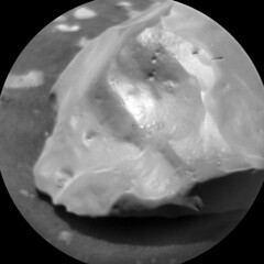 Four Holes in a Rock 1 (sjrankin) Tags: 28november2019 edited nasa mars msl curiosity galecrater closeup holes laser smooth sand dust rock