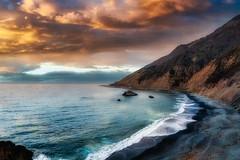 Mystical Cove (larwbuck) Tags: autumn beach california clouds colors composite fall mountain ocean seascape sunset travel water