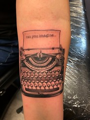 Typewriter Tattoo by Wes Fortier - Burning Hearts Tattoo Co. • Waterbury, CT.