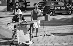Seattle Street Musicians - Black and White (Bela Lindtner) Tags: seattle washington unitedstatesofamerica lindtnerbéla belalindtner nikon d7100 nikond7100 nikkor 18140 nikkor18140 nikon18140 usa blackwhite blackandwhite bw feketefehér music musicians people outdoor outside street