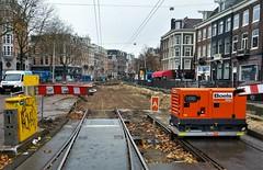 Het gat van de Schans (Peter ( phonepics only) Eijkman) Tags: amsterdam city gvb detour omleiding roadworks wegwerkzaamheden trackworks tram transport trams tramtracks trolley rails rail strassenbahn streetcars netherlands nederland nederlandse noordholland holland