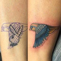Coverup Tattoo by Wes Fortier - Burning Hearts Tattoo Co. • Waterbury, CT.