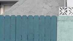A18228 / hue-shifted on santa barbara avenue (janeland) Tags: dalycity california 94014 santabarbaraavenue hueshift teal fence pe016 august 2018