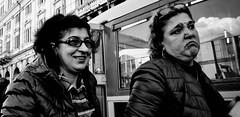 Happy, Sad. (Baz 120) Tags: candid candidstreet candidportrait city contrast street streetphoto streetcandid streetportrait strangers rome roma ricohgrii europe women monochrome monotone mono noiretblanc bw blackandwhite urban life portrait people provoke italy italia grittystreetphotography faces decisivemoment