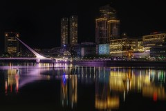 Nocturnal (karinavera) Tags: city longexposure night photography cityscape urban ilcea7m2 sunset puertomadero argentina buenosaires puentedelamujer nocturnal