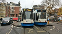 1+ 1=.. (Peter ( phonepics only) Eijkman) Tags: amsterdam city combino gvb detour omleiding tram transport trams tramtracks trolley rails rail strassenbahn streetcars netherlands nederland nederlandse noordholland holland