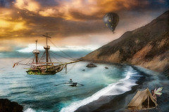 Lost Harbor (larwbuck) Tags: artistic autumn beach california clouds colors composite elements fall fantasy mountain ocean seascape sunset textures travel water