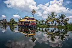Balade sur les Backwater (Ma Poupoule) Tags: backwater kerala canaux bateau boat lac nuages clouds cloud reflet reflets palmier palm inde india