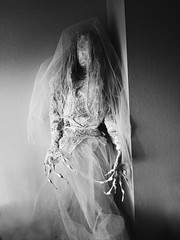 White bride (ok2la) Tags: 20191127130253 daguerreotype brady white bride dead death tomb crypt cemetery walker enchanted wireworks veil halloween prop figure faceless bw black