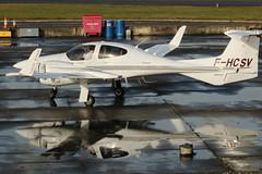 F-HCSV. (aitch tee) Tags: aircraft visitors walesuk cardiffairport aircraftspotting maesawyrcaerdydd cwlegff fhcsv diamondaircraft twinstar da42 reflections