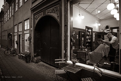 The barbershop in Brostræde. Sepia version (p_odel) Tags: streetphotography elsinore helsingør street people city cityscape sepia bw