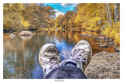 Just Sitting (Pearce Levrais Photography) Tags: autumn autumnleaves autumnal landscape leaves leaf leafpeeping rock river water reflection fall foilage sky cloud tree plant forest shoes feet sony a7r3 color colorful colors