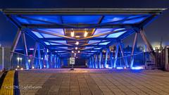 Blue Gate (NORDIC Lightbeams) Tags: hafen architektur brücke blauestunde nachtaufnahme deutschland fuji1024mmf4 hamburg landungsbrücken germany norddeutschland northgermany stadt architecture bluehour bridge city harbour nightshot