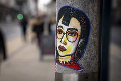 Yin Yintyong (Reckless Times) Tags: street art graffiti oxford univerist university face yin yintong sticker bokeh day nikon