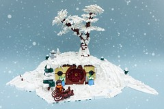 Winter in the Shire (-Balbo-) Tags: lego moc creation bauwerk herr der ringe lordoftherings lotr hobbit hobbiton hobbingen höhle hole winter snow snowy christmas shire auenland frodo bilbo bag end beutelsend tlg peter jackson gandalf tolkien new zealand matamata merry