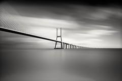 Lisbon's Vasco Da Gama Bridge (Andy J Newman) Tags: bridge fineart monochrome bw bandw blackandwhite d810 lisbon longexposure monochromatic nikon portugal vascodagama lisboaregion art lisboa