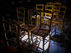 some chairs (Werner Schnell Images (2.stream)) Tags: ws chais stühle church kirche cathedrale saint jean baptiste calvo corsica korsika licht schatten shadows