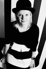 Nike (evelien noens) Tags: woman blackandwhite beauty portrait hat stripes nikon35mm nikond750 nikon