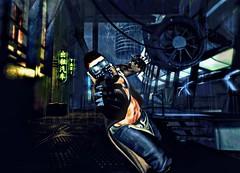 """ Blast From the Future "" (maka_kagesl) Tags: secondlife sl game virtual videogame photography portrait photo picture pic pose posing futuristic future cyber cyberpunk avatar avi snap snapshot screenshot guns gun pistol mask cosplay"