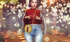 Underneath the lights.. (Sistine Kristan (Sisely) - Toolbox Chicks) Tags: osmia uber dubai event sl secondlife virtual avatar lyrium pose mel ddl mesh catwa maitreya red lights yummy lips denim irene