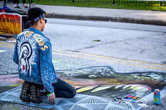 2019 Via Colori Festival (burnt dirt) Tags: street photography downtown candid documentary fujifilm xt3 people person chalk artist texas houston art 50mm fujinon pastel f2 outdoor city urban metro life portrait fashion real paint close emotion expression crowd group style line sidewalk gold heart mary mother virgin jacket