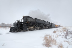 Steaming past milepost 7 (Moffat Road) Tags: unionpacific up bigboy 4014 steamlocomotive 4884 snow blizzard snowstorm upgreeleysub milepost7 adams dupont denver colorado train railroad co 76thstreet derby