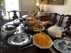 Thanksgiving meal (Foxy Belle) Tags: 112 room dollhouse miniature dining food colonial pale thanksgiving table set paneling blue white