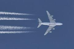 Qatar Airways / Airbus A380-861 / A7-APF (Micha_87) Tags: airbus a380 a380800 airbusa380 airbusa380800 qatar katar london heathrow heathrowairport londonheathrow qatarairways contrails contrailspotter planespotter spotter jena thüringen thuringia