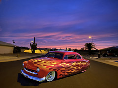 Evening Shade (oybay©) Tags: merc mercury car automobile suncitywest arizona color colors roadster flames flamin hotrod cactus sunset az autumn novemner sky clouds colorful
