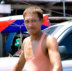 Street Worker (Beegee49) Tags: street people man working happy planet sony a6000 portrait bacolod city philippines asia