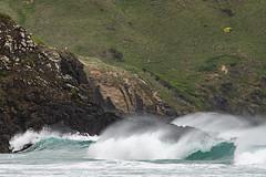 The power of the Pacific (Ian@NZFlickr) Tags: waves cliffs rocks spray pacific ocean allans beach otago peninsula nz
