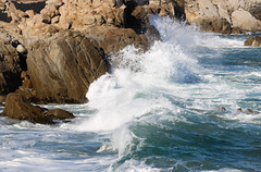 Waves crashing on the rocks (Jessie T*) Tags: montereybay pacificgroveca californiacoast biglittlelies loverspoint shootinglocation ocean rocks surf waves